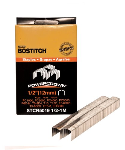 BOSTITCH STCR50191/2-1M 1/2-Inch by 7/16-Inch Heavy-Duty PowerCrown Staple (1,000 per Box)