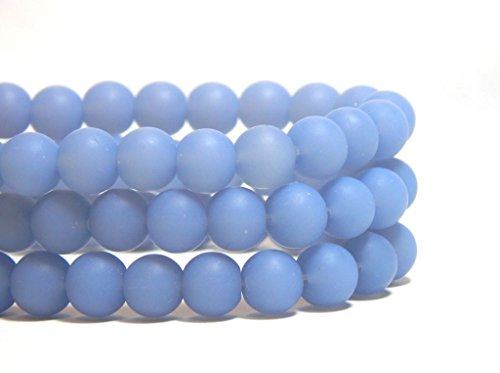 36 6mm Periwinkle Blue Glass Beads Opaque Lilac Round Frosted Matte Beach