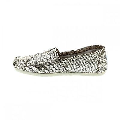TOMS Women's Crochet Classic Slip-on (6 B(M) US, Silver Glitter Wool)