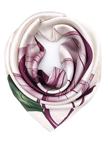 - YOUR SMILE Silk Feeling Scarf Women's Fashion Pattern Purple Flower Large Square Satin Headscarf (321)