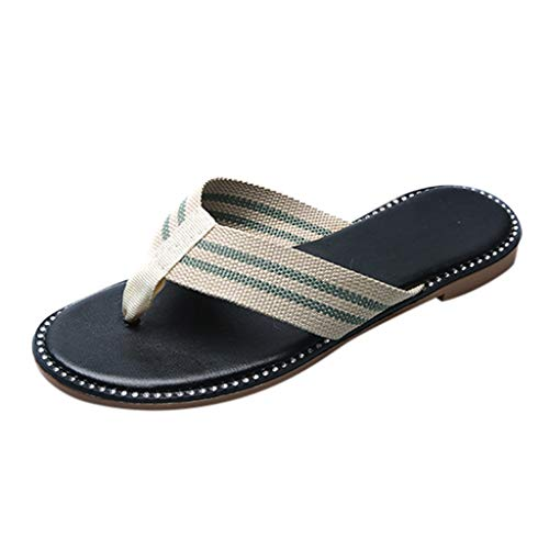 Womens Flip Flops, ❤️ FAPIZI Striped Orthotic Sandals with Great Arch Support Beach Ultra Comfort Slippers Shoes Green