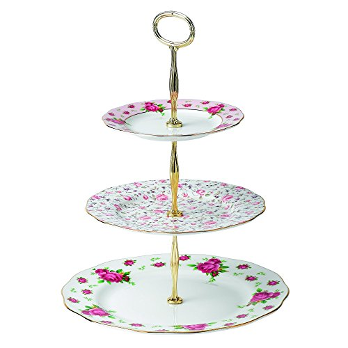 - Royal Albert New Country Roses Vintage Formal 3-Tier Cake Stand, White