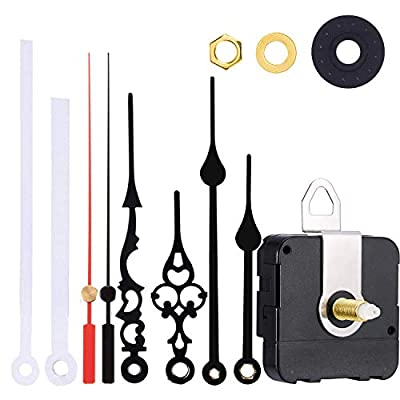 Satisfounder Non-Ticking Hands Quartz DIY Wall Clock Movement Mechanism DIY Repair Parts Replacement with 3 Different Pairs of Hands