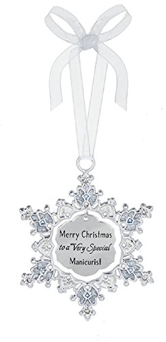 Ganz Merry Christmas to a Very Special Manicurist Zinc Decorative Hanging Ornament,Silver,2 5/8