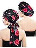 Blulu 2 Pieces Soft Satin Bonnet Cap Satin Head Scarf Pre-Tied Head Wrap Sleeping Headwear for Women, 2 Types (Black Floral with Tail, Black Floral)