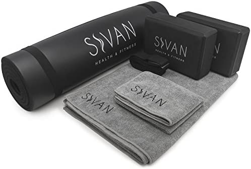 Sivan Health and Fitness Yoga Set 6-Piece– Includes 1/2″ Ultra Thick NBR Exercise Mat, 2 Yoga Blocks, 1 Yoga Mat Towel, 1 Yoga Hand Towel and a Yoga Strap