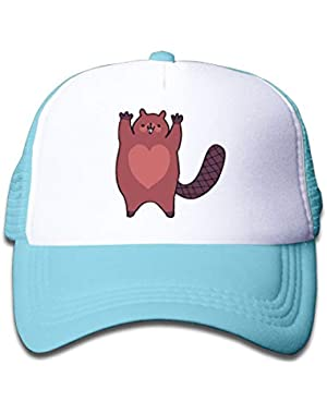A Beaver with A Heart On Children's Trucker Hat, Youth Toddler Mesh Hats Baseball Cap