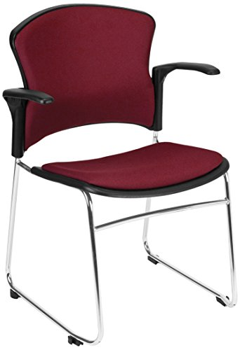 OFM Multi-Use Stack Arm Chair with Fabric Seat, Back and Wine
