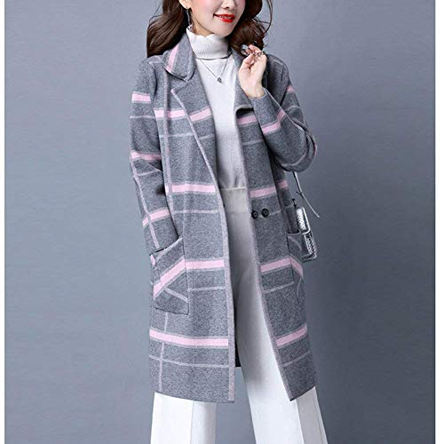 Classiche Grau Maglia Donne Modern Stile Di Pulsante Donna Stampate Outwear Lunga Giubotto Pattern Invernali Giacca Anteriori A Moda Autunno Casual Tasche Maglioni Manica qwpHB6HE1