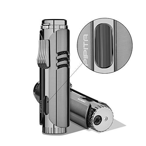 PIPITA Torch Lighter Windproof Cigar Butane Gas Lighter Jet Single Flame Cigarette Lighter, Adjustable Flame and Refillbale Fuel Metal Lighter (Butane Not Included) (Black)