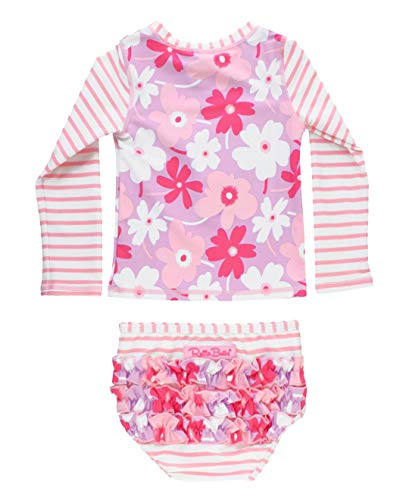 RuffleButts Little Girls Happy Petals Raglan Rash Guard Bikini - 4T
