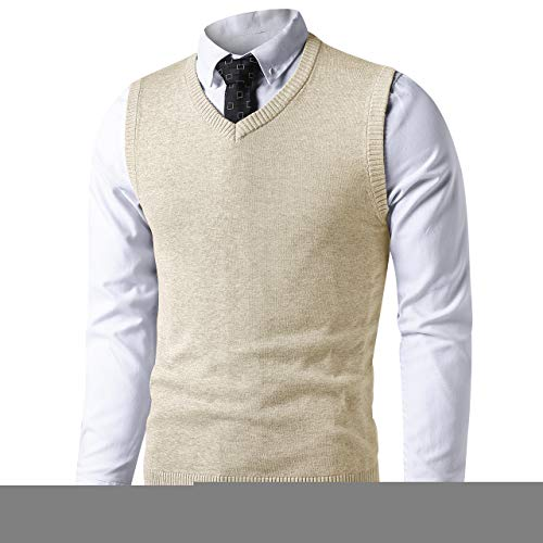 (LTIFONE Mens Slim Fit V Neck Sweater Vest Basic Plain Short Sleeve Sweater Pullover Sleeveless Sweaters with Ribbing Edge(Ivory Cream,XXL))