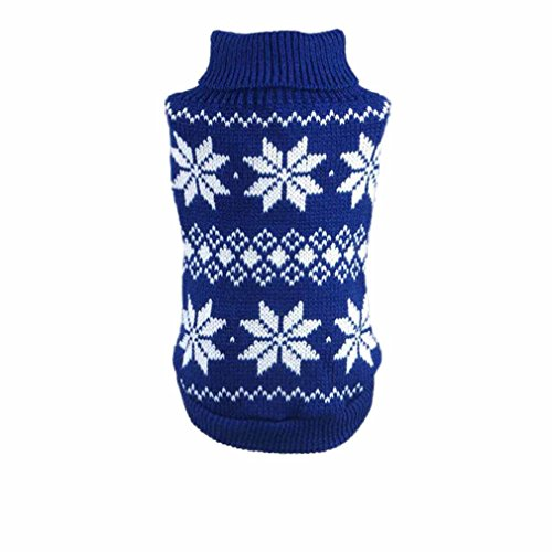 Image of HP95(TM) Hot!Dog Clothes Pet Winter Snowflake Woolen Sweater Knitwear Puppy Warm High Collar Coat and Jacket (M, Blue)