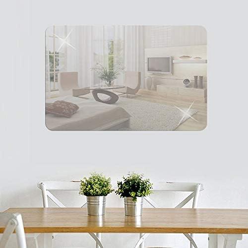 27Cm Miroir rectangulaire Stickers muraux Salon Chambre TV Toile de Fond Autocollants Miroir d/écoratif Design dint/érieur Moderne Art-Silver 42