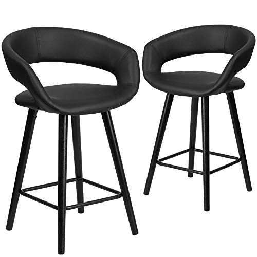 Black Stool 24' Counter (Flash Furniture 2 Pk. Brynn Series 24'' High Contemporary Cappuccino Wood Counter Height Stool in Black Vinyl)