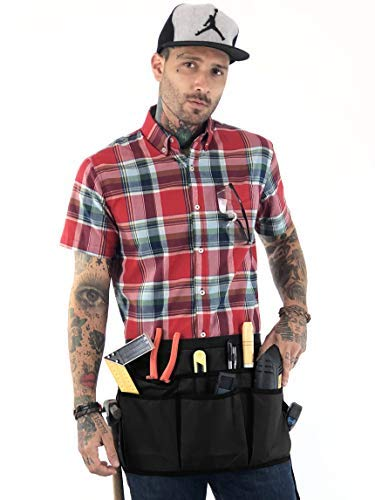 (Under NY Sky Utility Tool Belt Apron - HeavyDuty Black Oxford Canvas - 12 Pockets - Adjustable for Men, Women - Pro Mechanic, Woodworker, Carpenter, Electrician, Gardener, DIY, Handyman, Makers Apron)