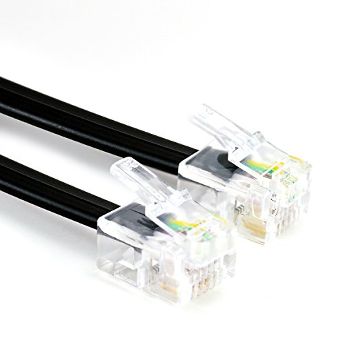 CSL - 15m Telefonkabel (Modularkabel / Westernanschlusskabel) mit 2xRJ11 / 6P4C / 4-polig belegt 1:1 | DSL | ISDN | Modem |NTBA |UAE genormte RJ-Steckverbindung | geeignet für analoge und ISDN-Telefone und -Faxe, Anrufbeantworter, Splitter, NTBA, DSL-Router- und Modems etc.| 15,0 Meter | schwarz