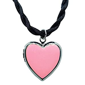 Bijoux De Ja Rhodium Plated Color Enamel Heart Locket Pendant Cord Necklace 18 Inches. (Pink)