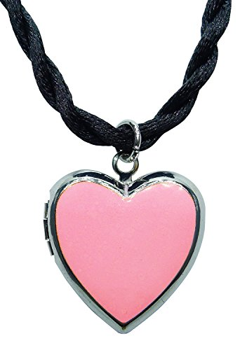 Bijoux De Ja Rhodium Plated Color Enamel Heart Locket Pendant Cord Necklace 18 Inches. (Pink) (Plated Rhodium Color)