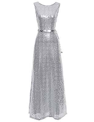 Flapper Girl Women's Scoop Neck Sequins Prom Maxi Dress Formal Gown with Belt