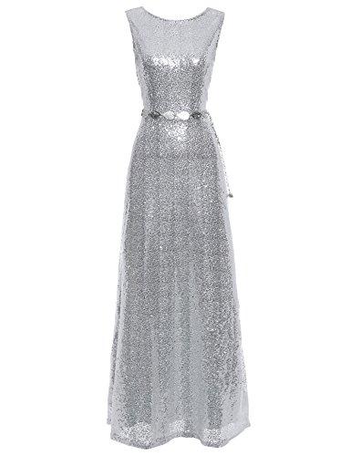 Silver 1920s Dress (Flapper Girl Women's 1920s Vintage Silvery Sequin Gatsby Evening Long Flapper Dress (Silver, 2))