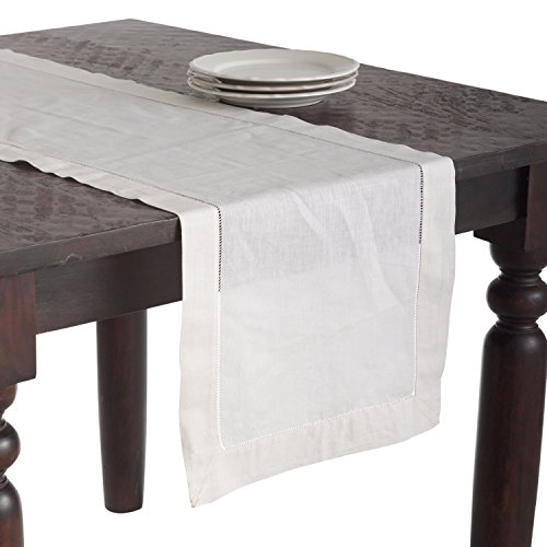 6100 Handmade Classic Hemstitched Design Table Runner, 16X120 Oblong, Ecru