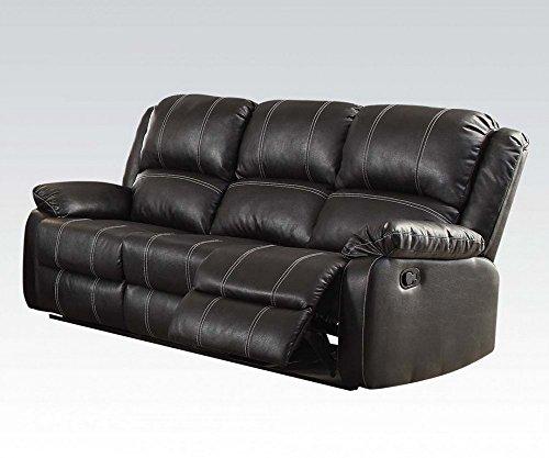 Lane Leather Reclining Sofa - ACME Zuriel Black Faux Leather Reclining Sofa