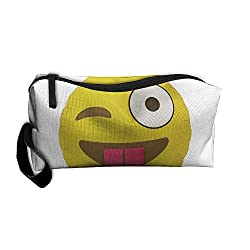 Dnieospla Unisex Emoji Template Winking-balloon Original Print Portable Washable Travel Wristlets Bag Waterproof Lace PVC Bathing Toiletry Storage Pouch Bag With Zipper For