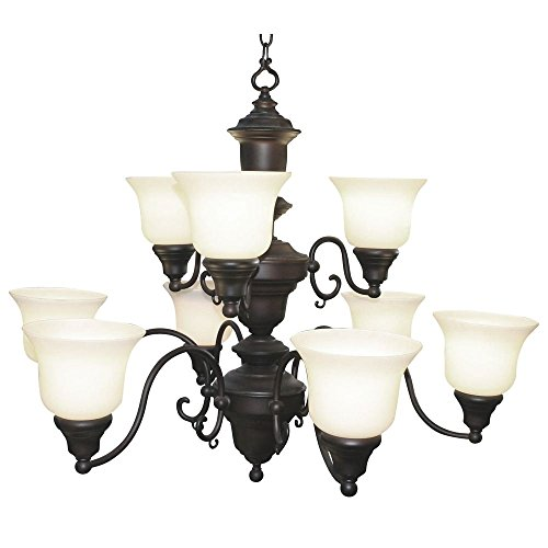 (Traditional Chandelier with Two Tiers and Nine Lights in Bronze Finish)