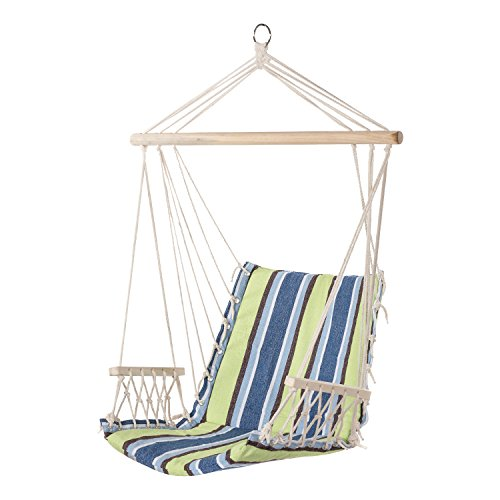 PG PRIME GARDEN Hanging Rope Chair Cotton Padded Swing Chair Hammock Seat for Indoor or Outdoor Spaces-Light Blue&Green Stripe by PG PRIME GARDEN