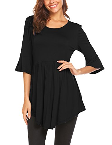 Bell Sleeves Tunic (Naggoo Women's 3/4 Bell Sleeve Tunic Tops Pleated O Neck Loose Shirts)