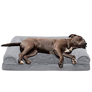 Furhaven Pet Dog Bed - Orthopedic Ultra Plush Faux Fur and Suede Traditional Sofa-Style Living Room Couch Pet Bed with Removable Cover for Dogs and Cats, Gray, Large
