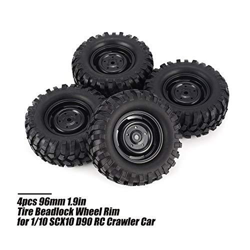 HoganeyVan 4pcs 96mm 1.9inch Rubber Tire Reifen mit Beadlock Felge ...