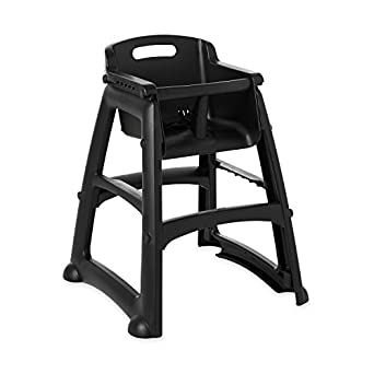 Rubbermaid Commercial Sturdy Chair Youth Seat High Chair With Wheels,  Black, FG780508BLA