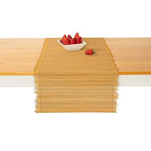 TΟMA TOV Natural Bamboo Table Runner - Coffee Table Runner - Handmade Home Decor for Kitchen 14