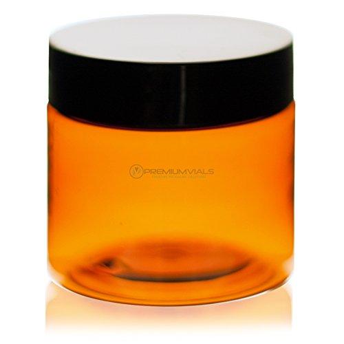 8 oz amber plastic jars - 6