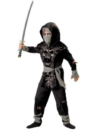 Zombie Baby Costumes (InCharacter Costumes, LLC Boys 8-20 Dark Zombie Ninja Tabard Set, Black/Grey, Size 8)