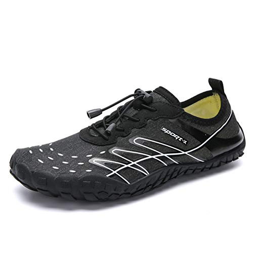 SITAILE TAILE Men Women Water Shoes Quick Dry Aqua Camp Shoes for Beach Walking River Bed Boatting Kayaking Black White Size 11.5