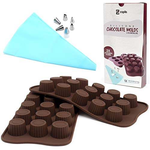 Silicone Chocolate Molds for Baking Candy - Non-stick Reusable Baking Supplies for Fat Bombs Candy Jelly Desserts - Round Shaped Silicone Trays for Sweets - Silicone Pastry Decorating Bag Included