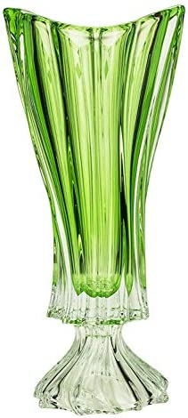 Czech Bohemian Crystal Glass Footed Vase 16''-Height ''Plantica'' Green Decorative Wedding Gift Elegant Centerpiece Flower Vase Vintage European Design Classic Crystal Gla