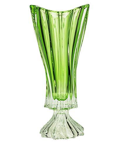 (Czech Bohemian Crystal Glass Footed Vase 16''-Height ''Plantica'' Green Decorative Wedding Gift Elegant Centerpiece Flower Vase Vintage European Design Classic Crystal Glass)