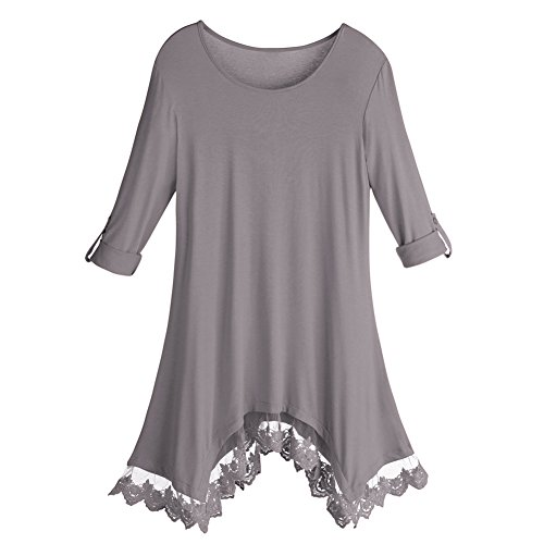 Women's Tunic Top - Luxe Knit Lace-Trim Sharkbite Hem Shirt - Gray - 1X