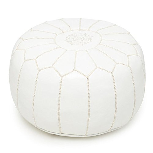 Premium Handmade Moroccan pouf white Leather Poufs,Ottoman Footstool Hassock 100% real Natural Leather pouffe,Home gifts, wedding gifts, foot stool