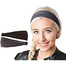 Hipsy Women's Adjustable & Stretchy Basic Xflex Headbands Multi Packs