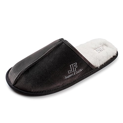 J. Fiallo Mens Faux Fleece Lined Velour Scuff House Slipper With Classy Imprinted Emblem Grey Cordury GjoEjqy