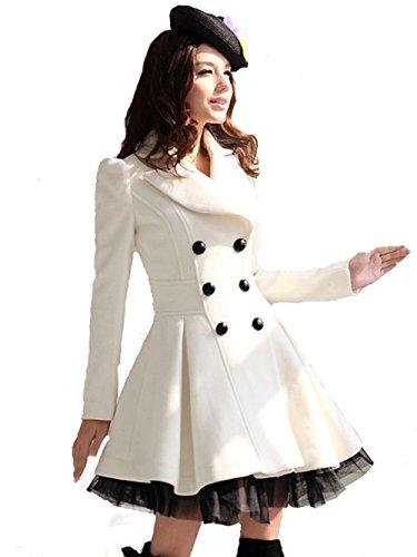 d91dd3305c8 L.V.Y Women Trench Coat Jacket Parka Slim Fit Peacoat XL White - Buy ...