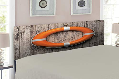 Ambesonne Buoy Headboard for Queen Size Bed, Life Buoy Attached to a Wooden Wall Hardwood with Grunge Rustic Aged Look Print, Upholstered Decorative Metal Headboard with Memory Foam, Tan Orange ()