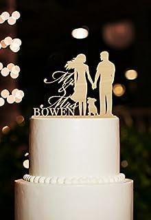 meijiafei Hochzeit Cake Topper Groom Hold Braut mit PET DOG SILHOUETTE Tortenaufsatz