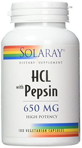 Solaray High Potency HCL + Pepsin 650 mg VCapsules, 100 Count (Pepsin 250 Capsules)