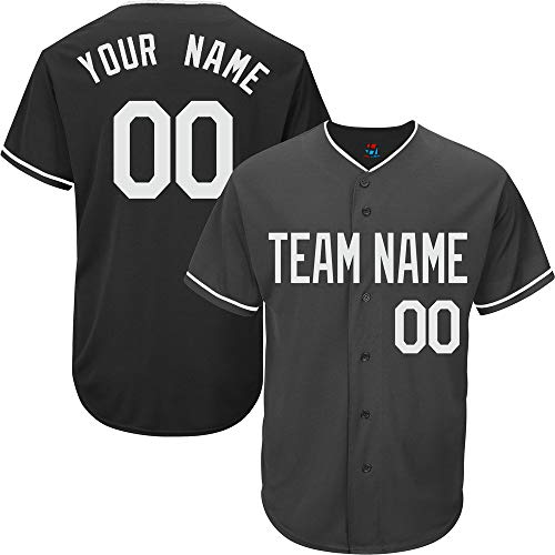 Black Custom Baseball Jersey for Youth Full Button Mesh Embroidery Name & Numbers,Gray Size M ()